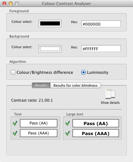 Colour Contrast Analyser の画面